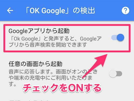 【Googleアプリから起動】が「オン」になっているか確認