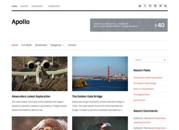 秋になったからWordPressのテーマをApolloに変更してみた